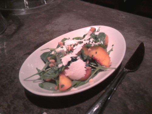 Peach Salad with Mint, Goat Cheese and Almonds @ Estadio