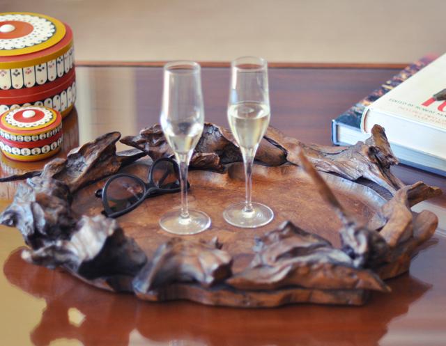 The Oceana Hotel in Santa Monica-suite decor-champagne glasses