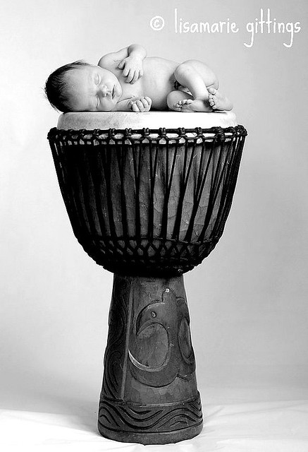 Baby G on Drum BW