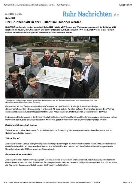 """Preview of """"Ruhr.2010- Der Brunnenplatz in der Hustadt soll schöner werden -  Ruhr Nachrichten"""""""