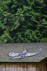 Klahowya Village - Eagle House (Larssa) Tags: wood roof summer canada green art vancouver bc britishcolumbia culture firstnations stanleypark aboriginal westcoast coastsalish 2011 musqueam klahowyavillage spiritcatchertrain