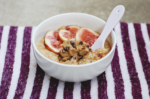 cookie dough dip & fresh fig on brown sugar oatmeal.