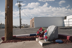 Memorial Shrine for Phoenix Police Officer Marc Atkinson (GC_Dean) Tags: street arizona urban phoenix morninglight shadows space descanso selectivefocus roadsideshrine 52weeks sociallandscape
