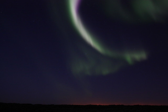 Aurora borealis - On the road to Krísuvík