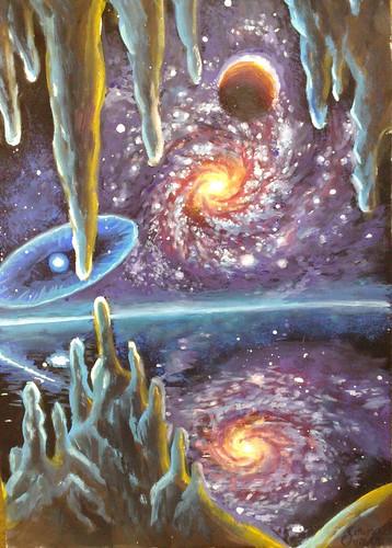 O galaxie si o supernova reflectanduse in apa unui ocean de pe o alta planeta totul vazut dintr-o pestera