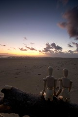 Seeing out the summer (MichaelCheckland ASN (Get back to you eventually ;) Tags: sunset sun tree beach mannequin wooden sand watching driftwood figures crosby ironmen