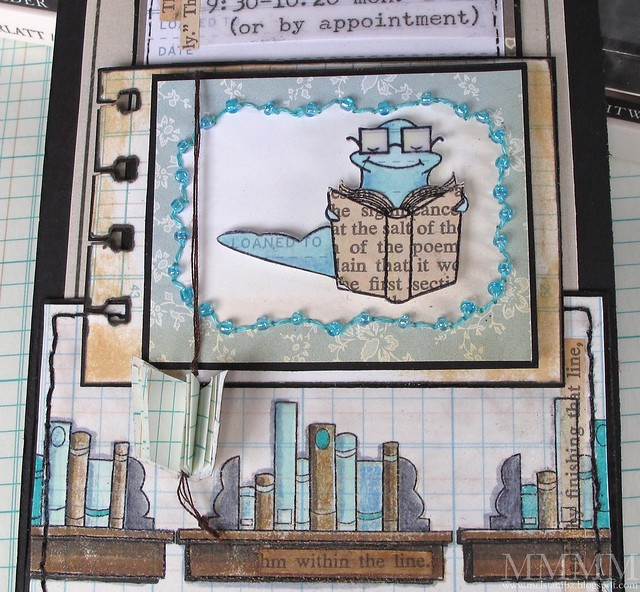 MFT Paper pieced book worm & beaded cosmo cricket frame