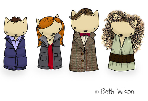 Doctor Who, Amy Pond, Rory and River Song as cats