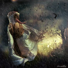 when the rain comes (kira_westland) Tags: storm wet girl beautiful rain birds fantastic surreal fantasy lovely gown miserable