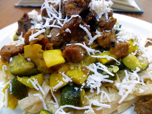 pork, zuchinni, squash and ricotta salata over GF noodles