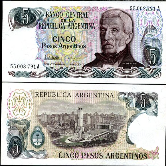 5 Pesos Argentinos Argentína 1983-84, Pick 312