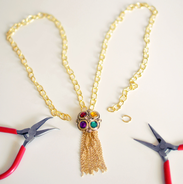 Gilded Gemstone and chain tassel necklace DIY-6