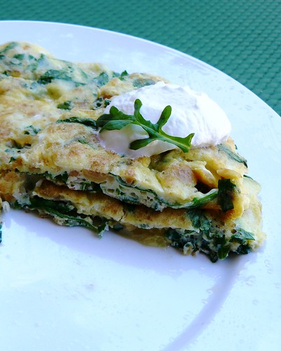 chickpea and arugula omelet