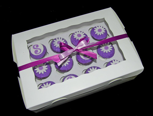 birthday gift purple sparkle cupcakes with daisies and monogram gift box