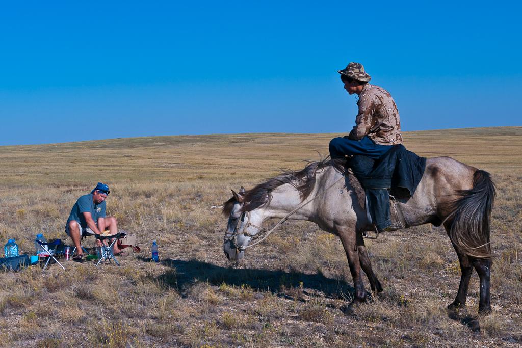farmer and camper in Kazakstan