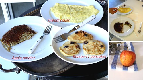 apple omelet creamcakes and blueberry coconut pancakes