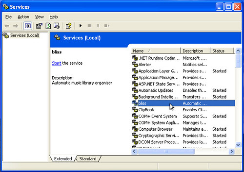 bliss in the services applet in Windows XP