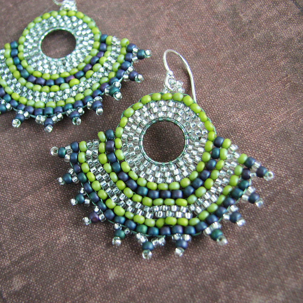 Gypsy Fan Earrings, Olive and Teal Blue, Brick Stitch, Sterling Silver