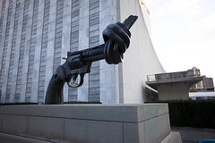 Twisted Gun Statue, at the United Nations building