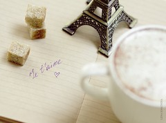 Mon amour (Lena Khachina) Tags: brown love cup coffee notebook tour drink diary eiffel sugar memo romantic jetaime