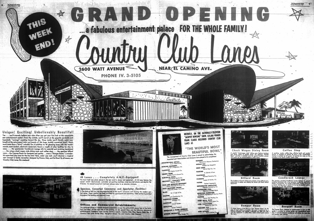 Grand Opening of Country Club Lanes, Sacramento: Powers, Daly and De Rosa (1960)