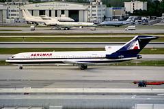 N203AV B727-259 Aeromar(Falcon Air Express) MIA 29JAN99 (Ken Fielding) Tags: n203av boeing b727259 falconairexpress trijet aircraft airplane airliner jet jetliner
