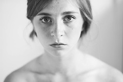 (hannah ) Tags: portrait white black girl monochrome self 50mm eyes nikon bones freckles 365 collar teenage d3000