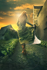 Don't Leave Me! (Hi I'm Adel) Tags: road street light sky orange sun house green art leave me girl grass photoshop wow hair leaving amazing cool rocks flickr do sad dress action designer awesome poor picture pic des dont   adel shose   cs3 cs4    2011       cs5    blinkagain adeldesigner