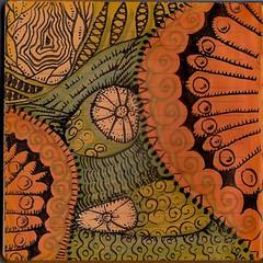 Acorns on the Forest floor-Front (molossus, who says Life Imitates Doodles) Tags: sharpiepen zentangle letrasetpromarkers bleedthrumanade daycraftcookiebookienotebook pentelsunburstgelpen
