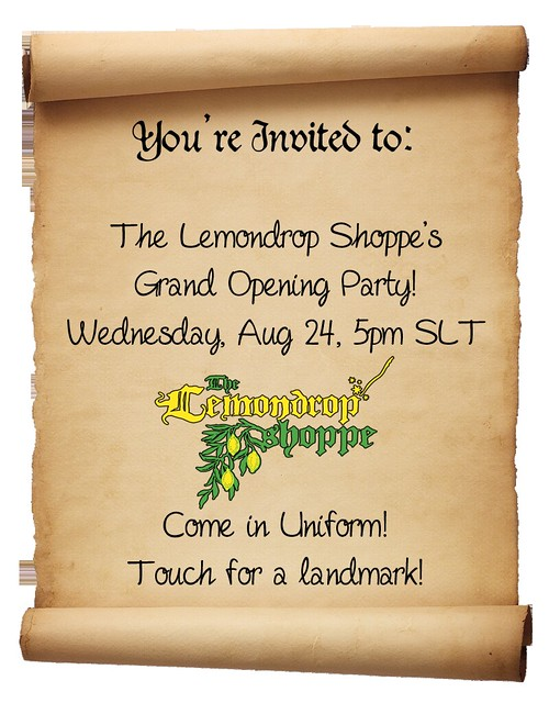 Grand Opening Party Invite for The Lemondrop Shoppe!