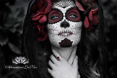 Day of the Dead (Alexandria LaNier) Tags: flowers red portrait beautiful grave graveyard rose festival night yard photoshop dayofthedead mexico death costume eyes dress ghost gothic makeup celebration diadelosmuertos tradition sugarskulls alexandrialanier ladyofthedead