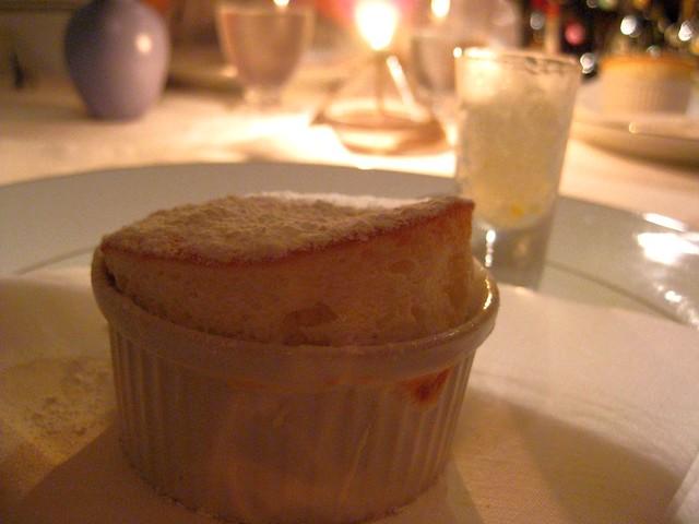 white Peach Souffle, Champagne sorbet