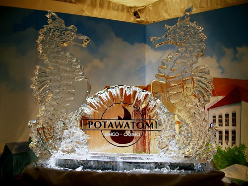 Seahorses at The Potawatomi  Casino ice sculpture