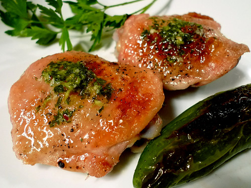 Chimichurri Butter on Chicken Thighs