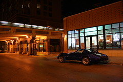 Out Of The Garage (Flint Foto Factory) Tags: auto city blue summer urban chicago classic chevrolet car night vintage reflections evening us automobile gm cta nocturnal stingray granville michigan cleaners north broadway august chevy american fiberglass redline 1977 corvette flint edgewater homesick sportscar chicagotransitauthority generalmotors 2door 2011 fiberglas straightoutofthecamera slowride sooc straightoutofcamera worldcars backtothebricks