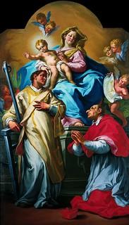 Giovanni Battista Sassi (1679-1762), La Madonna col Bambino adorata dai santi Lorenzo e Carlo (olio su tela)