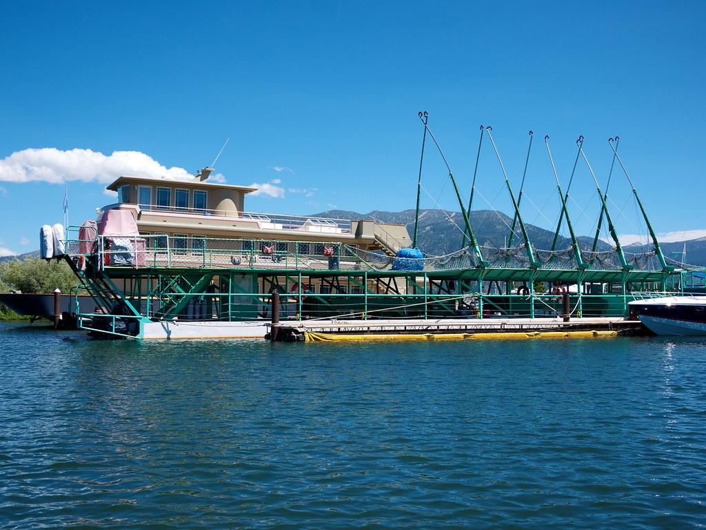 Hot air balloon launch ship on Lake Tahoe