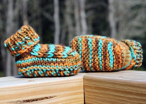Autumn Owl Booties - 0-3 MONTHS