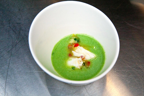 Vegetable gazpacho with crab salad