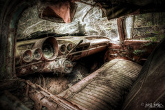 No Particular Place To Go (Explored!) (Just Josie (Away)) Tags: urban cars abandoned car decay urbanexploration dashboard hdr decayed decaying carinterior urbex abandonedcar cargraveyard