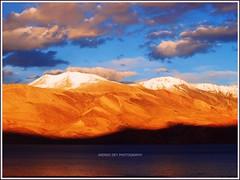 Golden Sunset on Tso Moriri (Anindo Dey) Tags: india mountains nature landscape olympus leh himalayas ladakh hemismonastery thikseymonastery tsomoriri changthang dey anindo tsokar e520 sheymonastery olympuse520 evolte520 oniondo anindodey