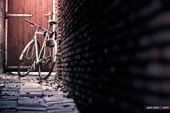 Bicycle Alley (Jeff Krol) Tags: street door light sun sunlight white bike bicycle wall canon eos alley dof view bokeh pov lock path stones special chain vanishing locked depth f28 harlingen 70200mm 70200l img2407 ef70200mmf28lusm 60d jeffkrol