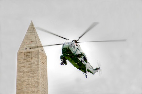 Marine 1 and the Washington Monument (Tonemapped)