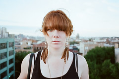 Kari Devereaux (Terry Barentsen) Tags: lighting nyc roof light summer portrait people ny color film girl skyline brooklyn analog bedford fly natural top hurricane feathers away contax kari irene t3 2011