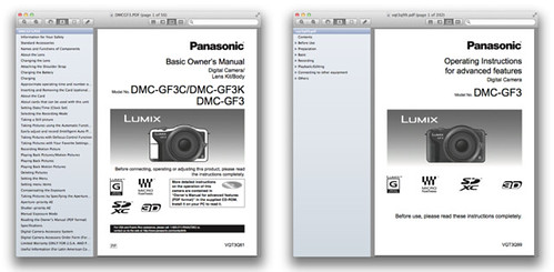 Panasonic GF3 – Basic and Advanced Manuals