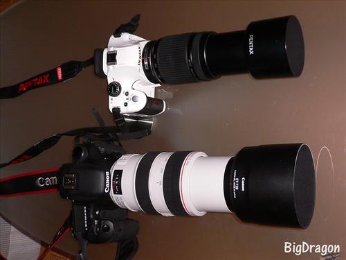 2台のカメラ 望遠ズームテレ端
