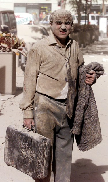 A man after attack on September 11, 2001