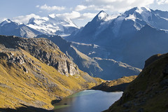 Lac de Louvie (Hulivili) Tags: lake snow mountains alps trekking de landscape switzerland outdoor hiking path lac grand du glacier valley cabane valais chamois combin louvie corbassire fionnay lesentierdeschamois