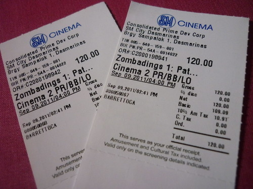 Zombadings movie tickets.