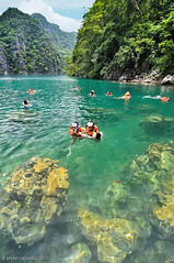 Swimming at Kyangan Lake (B2Y4N) Tags: travel lake beach landscape island photography rocks cathedral twin lagoon whitesand coron palawan ecotourism busuanga kyanganlake